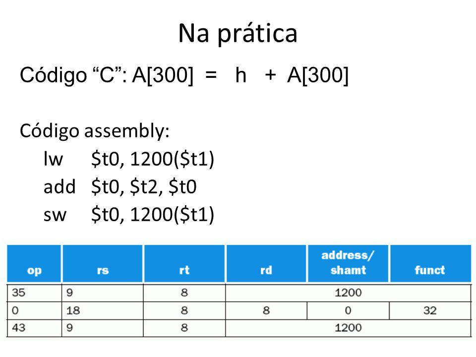Na prática Código C : A[300] = h + A[300] Código assembly: lw $t0, 1200($t1) add $t0, $t2, $t0 sw $t0, 1200($t1)